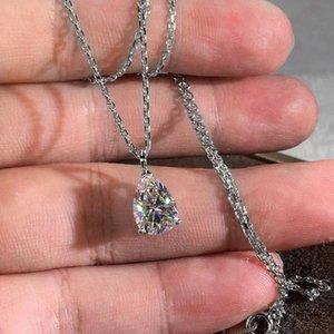 Pendentif Colliers de luxe Crystal Eau Drop Collier Pierre Collier Pear Coupée Zircon Rose Gold Or Silver Color Chain pour femmes