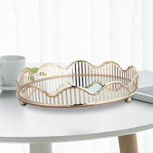 Nordic Hollow Out Corrugated Glass Mirror Tray Jewelry Cosmetic Fruit Storage Plate Desktop Decorative Organizer Boxes & Bins
