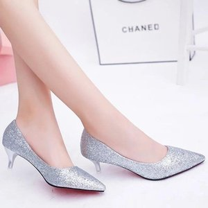 Dress thin heel high shoes women's red sole middle 3-5-7cm large student silver Bridesmaid annual meeting performance sexy