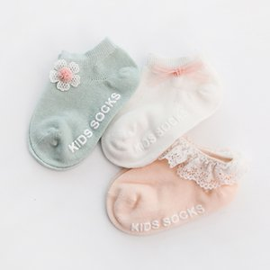 3 Pairs lot 0 to 24M Spring Summer Baby Socks Solid Color Infant Baby Floor Socks Soft Cotton Anti-slip Boat Socks For Girls 808 Y2