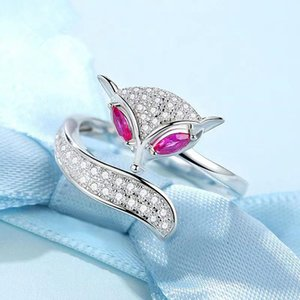 925 sterling silver fox open ring fashion personality ladies trend small animals high quality can be customized