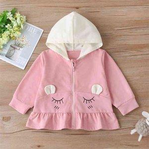 Winter Children Casual Cotton Long Sleeve Zipper White Hooded Print Pink Hoodies Baby Girls T-shirt 2-6T 210629
