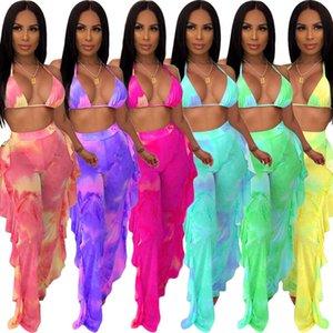 Womens Designer bikini 2 two piece set swimsuits Sexy Perspective mesh ruffle cover up long pants bra Swimwear women summer Bathing Suit