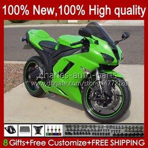 Bodywork For KAWASAKI NINJA ZX-600 ZX 6R 600 CC 600CC 6 R 07-08 Body 10No.134 ZX-6R ZX600C ZX636 2007 2008 ZX 636 ZX600 ZX-636 ZX6R 07 08 Motorcycle Fairing Kit glossy green