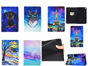 Filp Stand leather cases for ipad air1 10.2 10.5 pro 11 air4 mini 2345 Samsung T220 T290 T590 T510 T580 P610 T500 T720 Cartoon Butterfly Dog Elephant lion cat Holder Cover