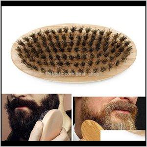 Boar Bristle Hair Beard Brush Hard Round Wood Handle Anti-Static Boar Comb Hairdressing Tool For Men Beard Trim Customizable Vt0669 Dj Zpene