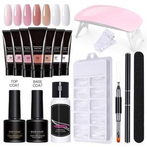 Extension Gel Set Acrylic Nail Polish Kit With UV LED Lamp 3 Colours For Beginners Art Tools Kits
