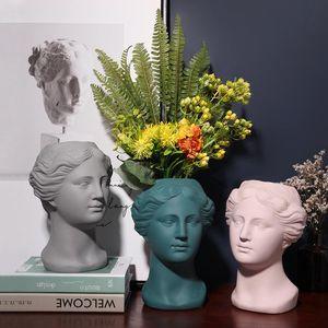 Vasi moderna vaso di testa in ceramica vaso fatto a mano decorativo flower flower flanter scultura arte da collezione da collezione unica home ufficio decorazione regali