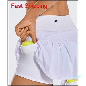 Tennis Skirt Lu Yoga Running Sports Golf Skirt Mid-waist Pleated Skirt Back Waist Pocket Zipper Gym Clothe qylgyx alice_bag