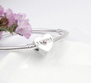 Pink Cubic Zircon Openwork Mom Charm Beads Fit Pandora Charm Bracelet Fashion Jewelry Wholesale Accessory ps2800