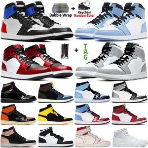 University Blue 1 Basketball shoes 1s High Dark Mocha Electro Orange UNC Light Smoke Grey Hyper Chicago bred royal toe men women running sneakers highs quality