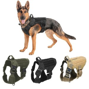 Collars Tactical Service Dog Vest Breathable Military Dogs Clothes K9 Harnesses Adjustable Size Training Hunting Molle Harness