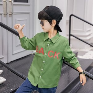 3-13T Teenage Boys Shirt Spring Autumn Boy Long Sleeve Collar Shirts For Children Big Kid Top Letter White