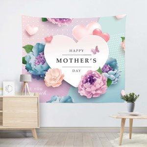 Feliz Día Madre Casa Decorativo Poliéster Flower Tapices Sala de estar Dormitorio Fondo Murales Impresión Fiesta Tapicería