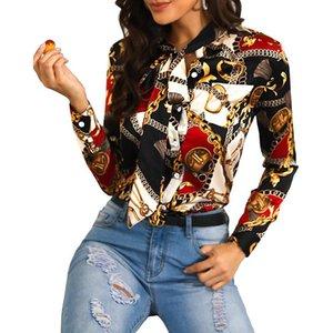 Mujer diseñadora corbata corbata cuello blusa primavera cadena cadena imprimida camisas de lujo floral blusas mujer otoño moda tops camisa de manga larga