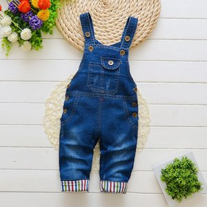 Autumn spring baby trousers boys denim overalls infant cotton cute jeans kids boys girls bib pants trousers