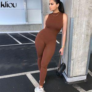 Kliou Solid Autumn Jumpsuits Women 2021 Sleeveless High Waist Elastic Skinny Basic Sportswear Female Casual Fitness Outfits Hot