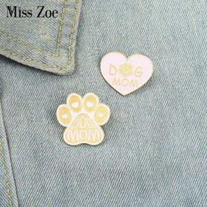 Dog Mom Pink Enamel Pins Custom Love Heart Paw Brooch Lapel Badge Bag Cartoon Jewelry Gift for FriendsDIO CHAN CONTACT