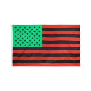 Großhandel Fabrikpreis 100% Polyester 90 * 150 cm 3x5 fts rot und schwarz Bars Afro Amerikanische Flagge für Dekoration HWD5676