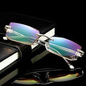 Diamond Rimless Reading Closses Men Women Anti-Fatigue Pressbyopia Eyeglasses for Men's Diopter 1.0 1.5 2.5 2.5 3.0 النظارات الشمسية