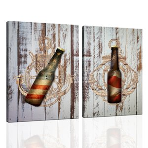 2 Piece Rustic Farmhouse Painting Canvas Wall Art USA Flag on Wooden Board Print Bar Decorations Vintage Anchor Picture for Home Decor 12x16inchx2pcs