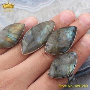 5 pcs Flash Flash Labradorite Stone Ajustável Anéis Jóias, Banhado Grampo Prateado Beads Abra o presente de jóias para seu cluster
