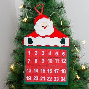 Christmas 24 Day Timing Calendar Red Santa Claus Non-Woven Wall Calendars Xmas Countdown Decoration HWE9457