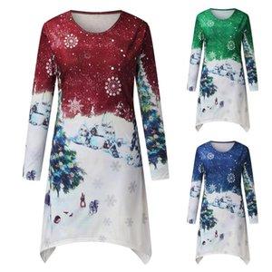 Women's T-Shirt Christmas Long-sleeve T Shirt Women Graphic Shirts Long Tunics Female Cotton Casual Loose Tshirt Lady Tops
