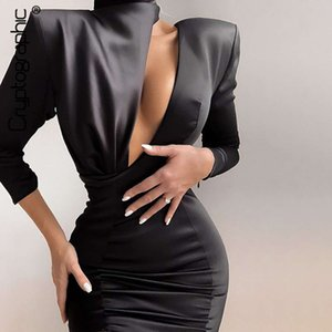 Cryptographic 2020 Spring New Fashion Black Mini Dress Women Sexy Cutouts Backless Date Night Party Club Satin Spliced Dresses MX200518