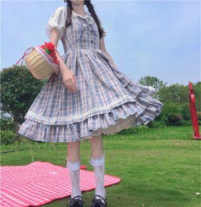 Japonais doux kawaii mignon lolita style femme robe 2020 Summer Soft girly Spaghetti Strap bleu Plaid impression dame robe femme