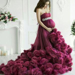 Maternity Women Evening Dresses Purple Long Luxury Ruffled Baby Shower Gown Photoshoot Crystal Bathrobe Nightwear Pregnancy Dress