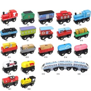 Magnetic Wooden Train, DIY Building Blocks, Locomotive Car, Educational Toy, Compatible with Track, Parent-child Interactive, Christmas Kid Birthday Gift, USEU