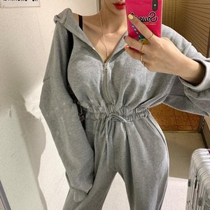 Women's Jumpsuits & Rompers Spring Autumn 2021 Women Casual Female Romper Hooded Zipper Sexy Outwear Jogging Outfits Jumpsuit