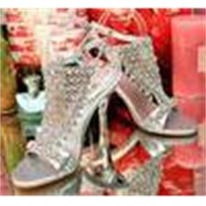 Bride Ladies Party Silvery Evening Wedding Shoes Crystal Stones High Heel Dress Shoes Size 34 to 39