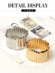 High grade irregular alloy wide bracelet bangle gold and silver two color Bracelet Party Jewelry zincon alloy bangle statement bracelet for
