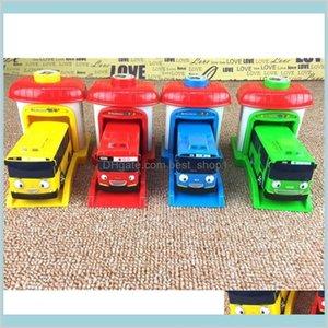 [Funny] 4Pcs Set Scale Model Tayo The Little Bus Children Miniature Baby Oyuncak Garage Ejection Impact Car Vehicle Toys Hilpa