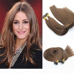 Remy Nano Ring Hair Extensions #4 Dark Brown Virgin Brazilian Human Hair Pre bonded Mrico Nano Beads Ring Loop Hair Extensions 1g str