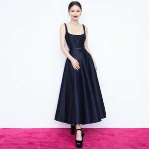 601 2021 Summer A Line Sleeveless Black Dress Prom Fashion Flora Print Brand Same Style Spaghetti Strap Flora Print AS