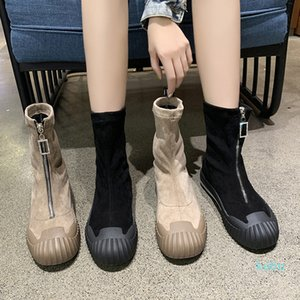 Boots 2021 Autumn And Winter Women Suede Socks Comfort Zipper Ankle Boot Mujer Scarpe Donna Chunky Heels Botte Femme