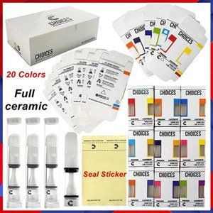 Choices Vape Cartridges Atomizer Full Ceramic Cart 510 Thread 20 Colors 0.5ml Press On Seal Sticker Empty Oil Carts Hologram Packaging