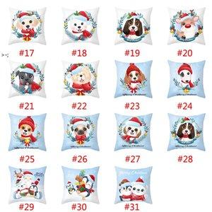 Cartoon Christmas Pillowcase Merry Christmas Decorations Cute Snowman Sofa Cushion Home Pillow Covers LLD11088