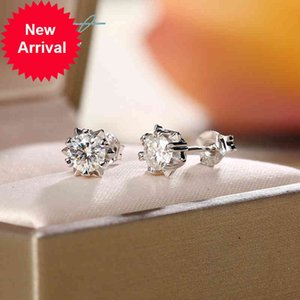 1 ct Total 2 Carat Pass Diamond Test D Color Romantic Love Snowflake Moissanite Stud Earrings Fine Jewelry