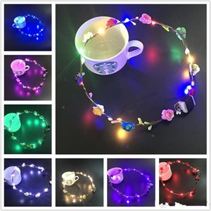 DHL Flashing LED strings Glow Flower Crown Headbands Light Party Rave Floral Hair Garland Luminous Wreath Wedding Girl Headpiece