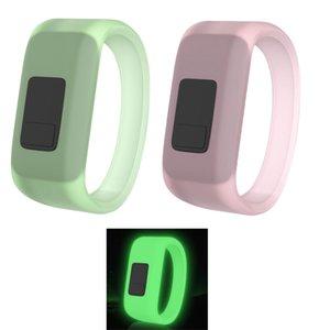 Bracelet de poignet Sport de fluorescence pour Garmin VIVOFIT JR Remplacement des bandes Silicone Soft Silicone Bracelet Couleurs roses vert