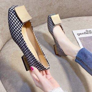 Cresfimix Femmes Classic Haute Qualité Rond Bureau Square Square Square Pompes Lady Casual Black Plaid Summer High Heel Chaussures C6308