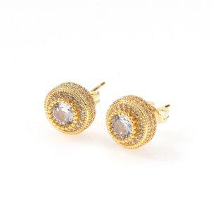 Hip Hop Earrings Luxury Bling Zircon Stud Earrings Jewelry Trendy Fashion Gold Silver Color Geometric Circle Men Women Earrings 3479 Q2