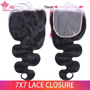 Brazilian Raw Virgin Hair 7X7 Lace Closure Body Wave   Straight 16 18 20inch 100% Human Hair Transparent Swiss Closures Natural Color