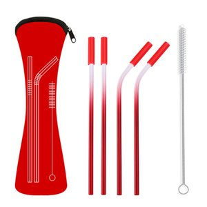6 Colors Stainless Steel Gradient Color Set With Anti-Scratch Silicone Head Metal Reusable Eco-Friendly Drinking Straw OOD5265 B7C6