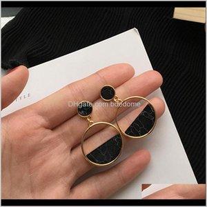 Charme jóias drop entrega 2021 brincos simples All-match imitação de mármore geométrico preto turquesa círculo orelha barriga vocim