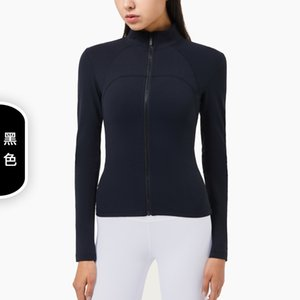 2021 Luxury Workout Lulu Women Feel Slimming Long Style Sports Jacket Clothes High Womens American And European Designer Nude Collar Sl Sddf